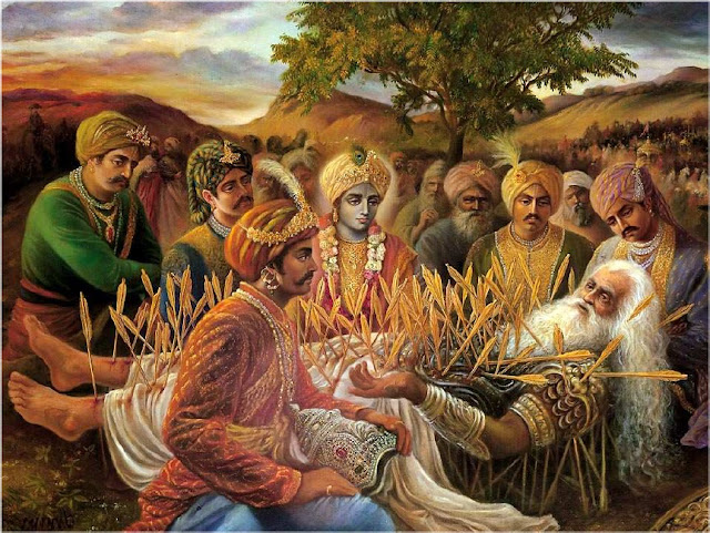 Bhishma advises Yudhistra with Pandavas and Krishna on his death bed of arrows_Shanti Parva-128