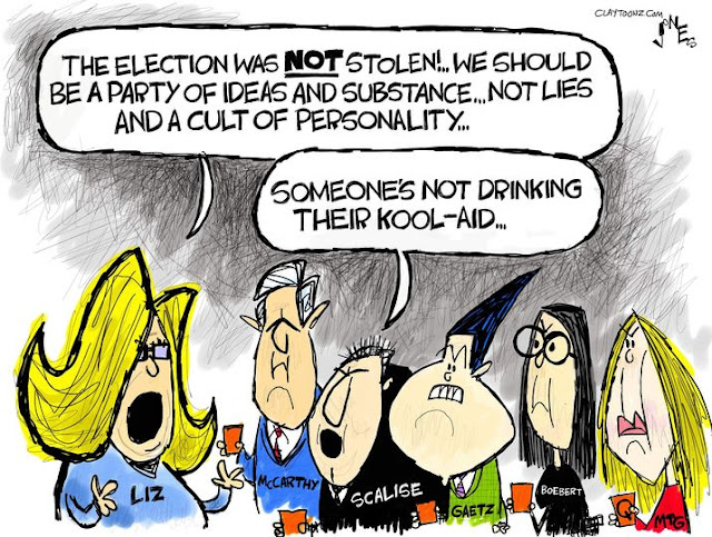 Liz Cheney, speaking to Steve Scalise, Matt Gaetz, Lauren Boebert, etc., all of whom are holding glasses filled with a red liquid, says,