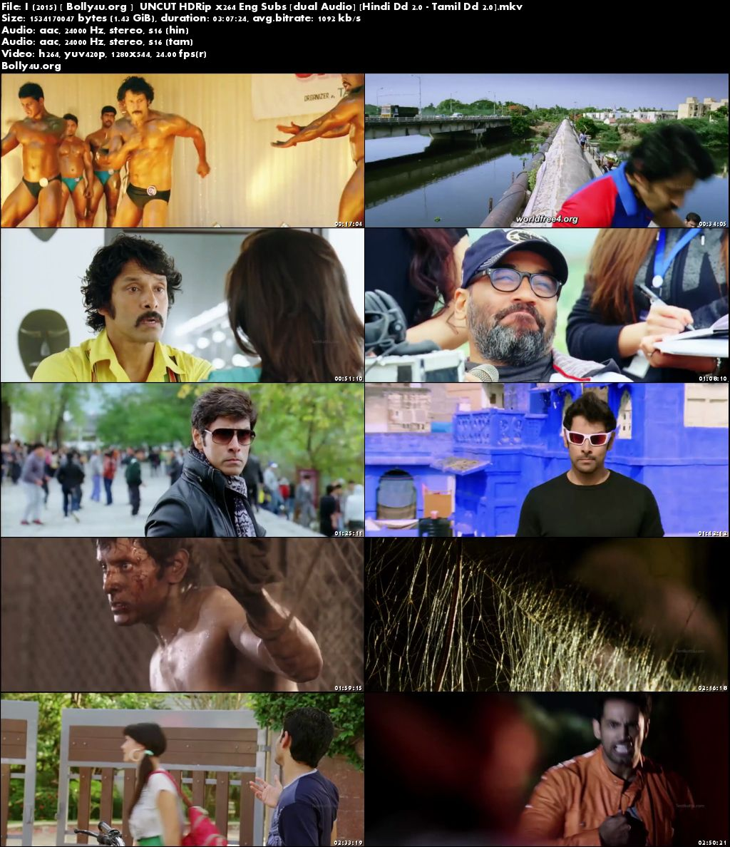 I (2015) HDRip 550MB UNCUT Hindi Dubbed Dual Audio 480p Download