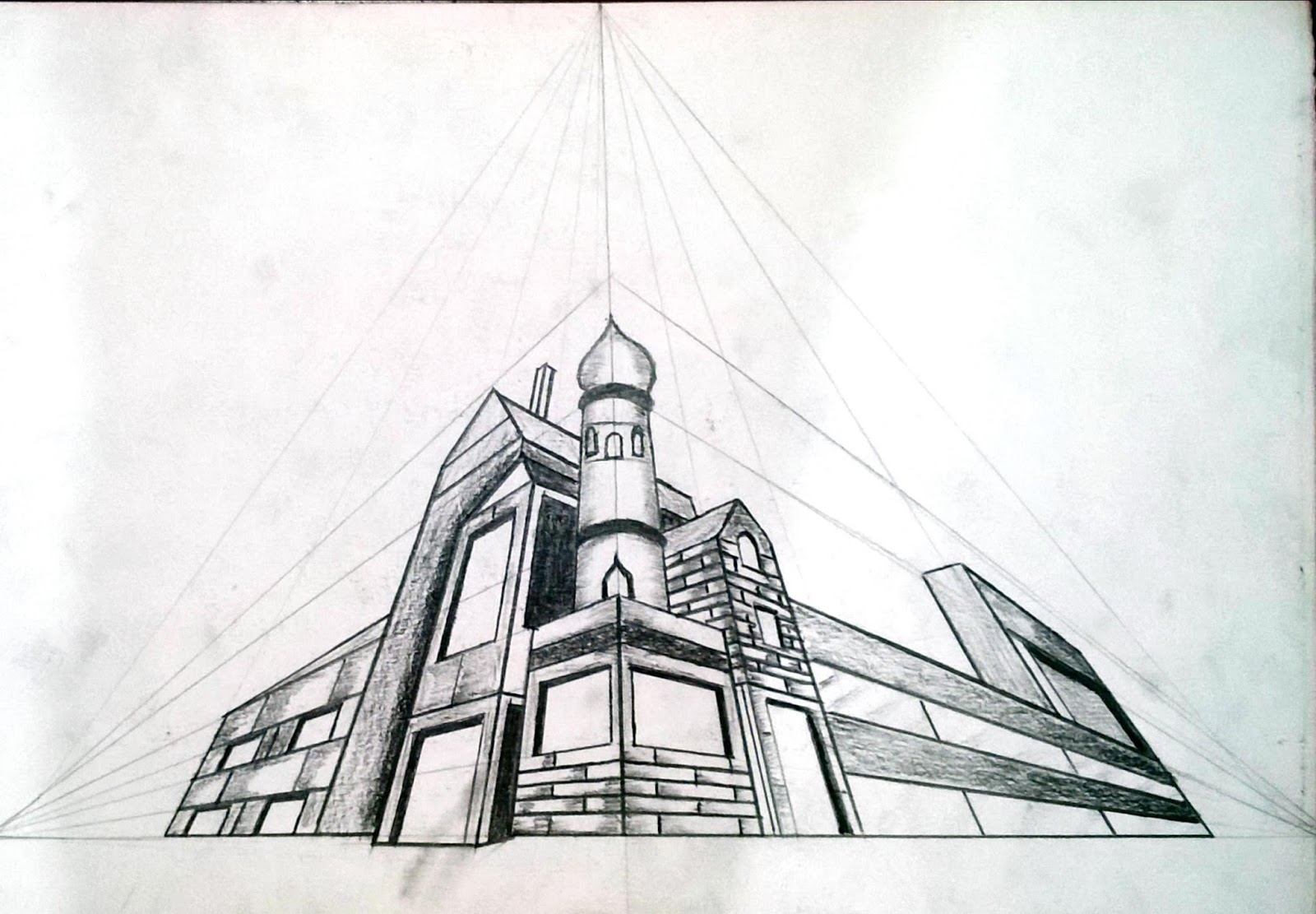Three Point Perspective Drawingc
