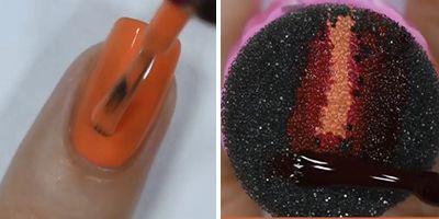 truque para unhas decoradas com esmalte laranja