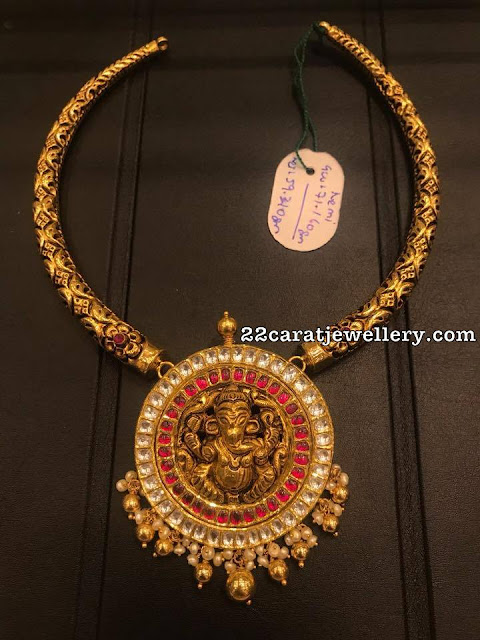 Simple Nakshi Kante With Ganesh Jewellery Designs