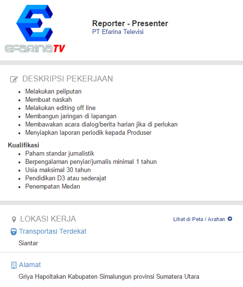 Lowongan Kerja PT Efarina Televisi Terbaru 2019