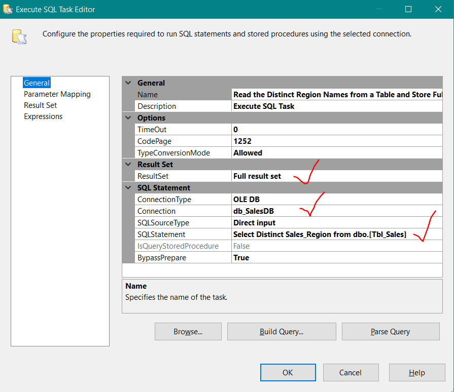 how to create multiple flat file destinations for each region data from sales table source of