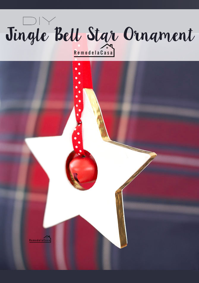 Wooden stars ornaments - red and white and plaid background