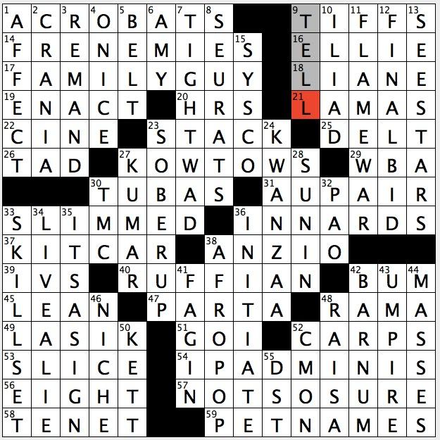 Rex parker does the nyt crossword puzzle pop singer for Farcical film genre crossword