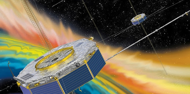 Illustration of the four MMS spacecraft in orbit in Earth's magnetic field. Credit: NASA
