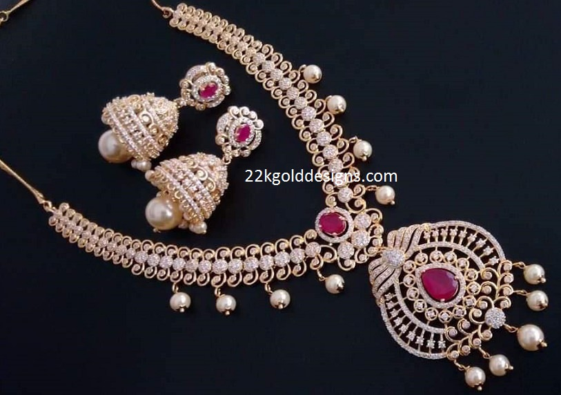 One gram gold jewellery archives page 2 of 3 22kgolddesigns one gram white stones necklace with jhumkas mozeypictures Image collections