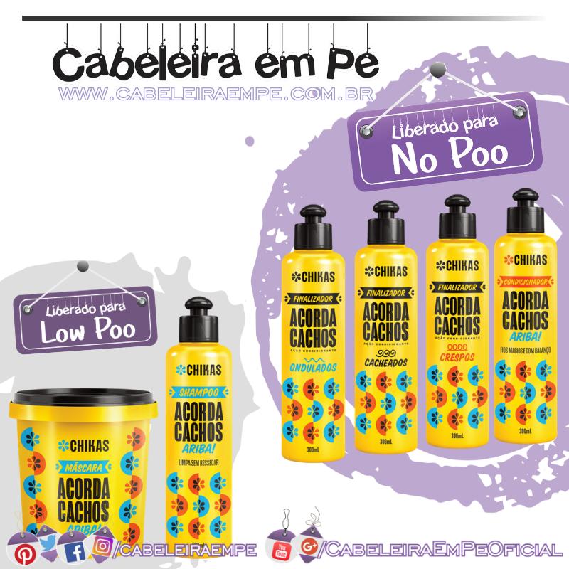 Shampoo e Máscara (liberados para Low Poo) Condicionador e Finalizadores (liberados para No Poo) Acorda Cachos - Chikas