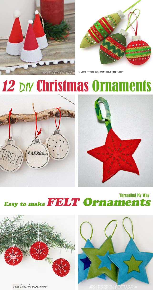 How to make felt Christmas ornaments from felt. Quick and easy DIY. Threading My Way