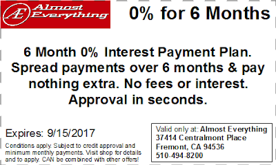 Coupon 6 Month Interest Free Payment Plan August 2017