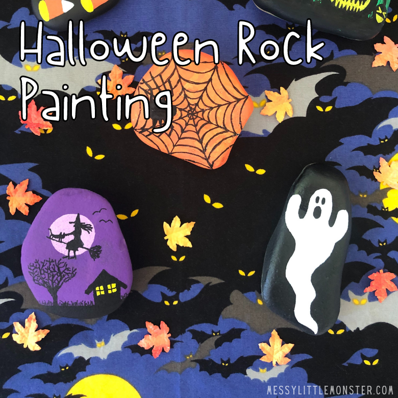 I want the walls to look like they are old and the paint has peeled. Halloween Rock Painting Messy Little Monster