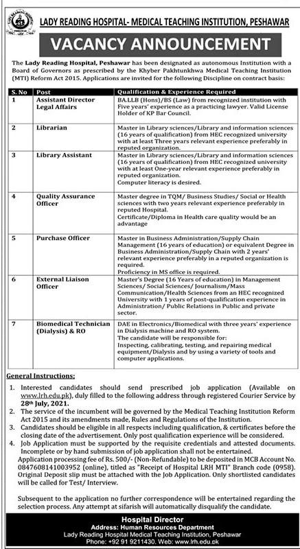 www.lrh.edu.pk Jobs 2021 - Lady Reading Hospital (LRH) Jobs 2021 in Pakistan