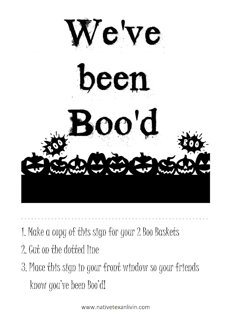 Free Printable - We've Been Boo'd sign for your Boo Basket