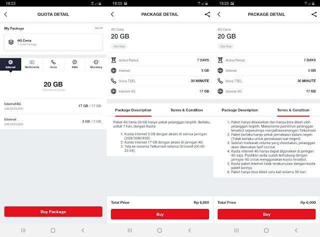 Paket 4G Ceria 20GB Rp 6 ribu Telkomsel