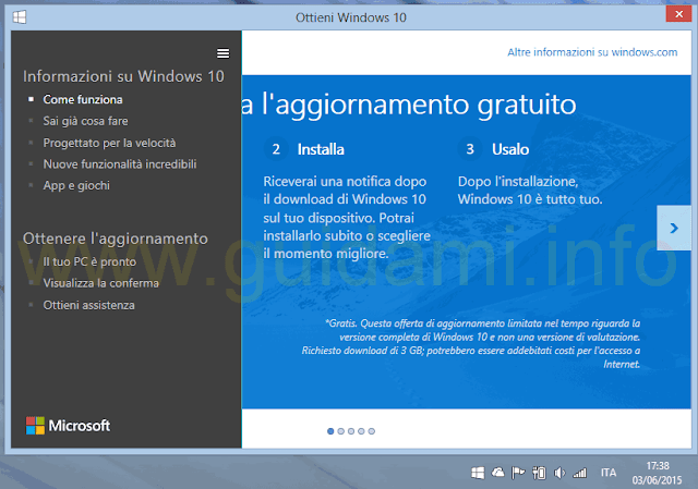 Ottieni Windows 10 Il tuo PC è pronto