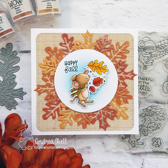 Newton's Nook Designs & WOW Embossing Powders Inspiration Week - Autumn Leaves card by Andrea Shell | Autumn Mice Stamp Set and Autumn Leaves Die Set by Newton's Nook Designs with embossing powder by WOW! #newtonsnook #wowembossing