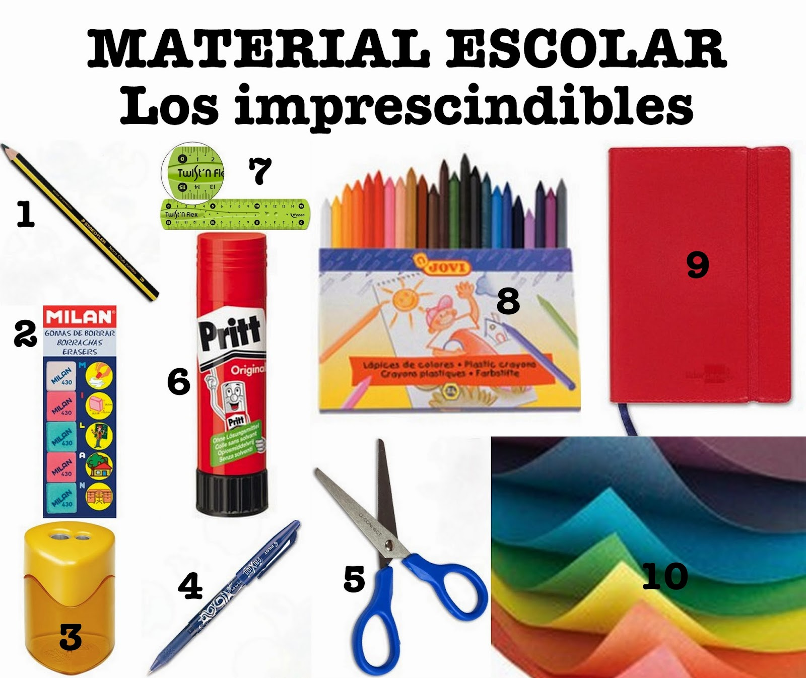 Collage de fotos de 10 items de material escolar