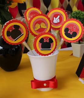 pirulito festa de aniversário tema minnie vermelha