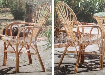 sillón para comedor hecho en caña de bambú y rattan natural j515