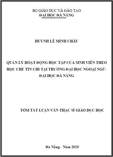 Quản lý hoạt động học tập của sinh viên theo học chế tín chỉ tại trường đại học ngoại ngữ - đại học Đà Nẵng