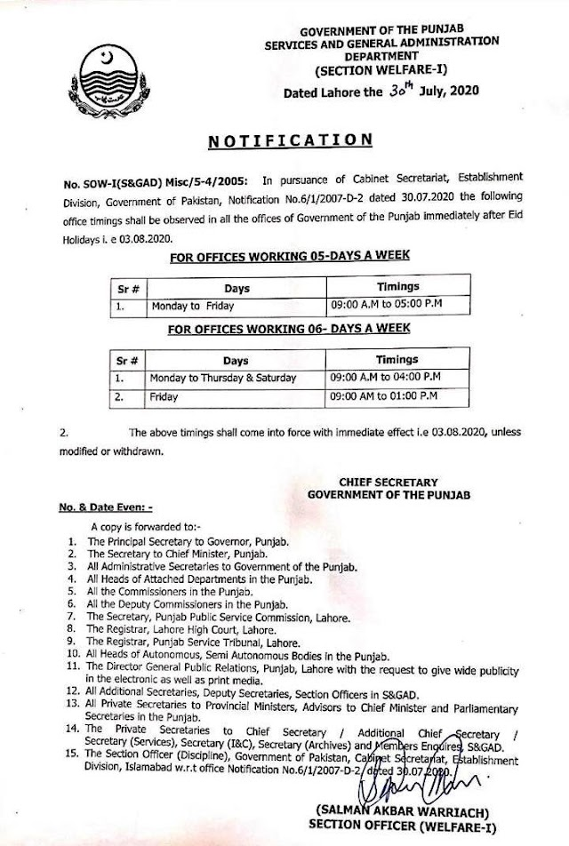 OFFICE TIMINGS IN ALL OFFICES OF GOVERNMENT OF PUNJAB