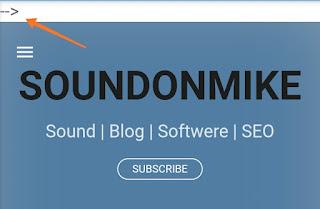Cara menghilangkan tanda panah --> di atas header blog