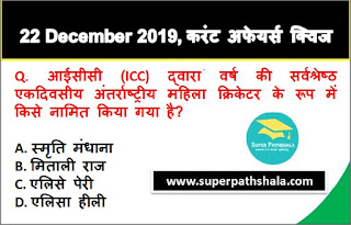 Daily Current Affairs Quiz in Hindi 22 December 2019