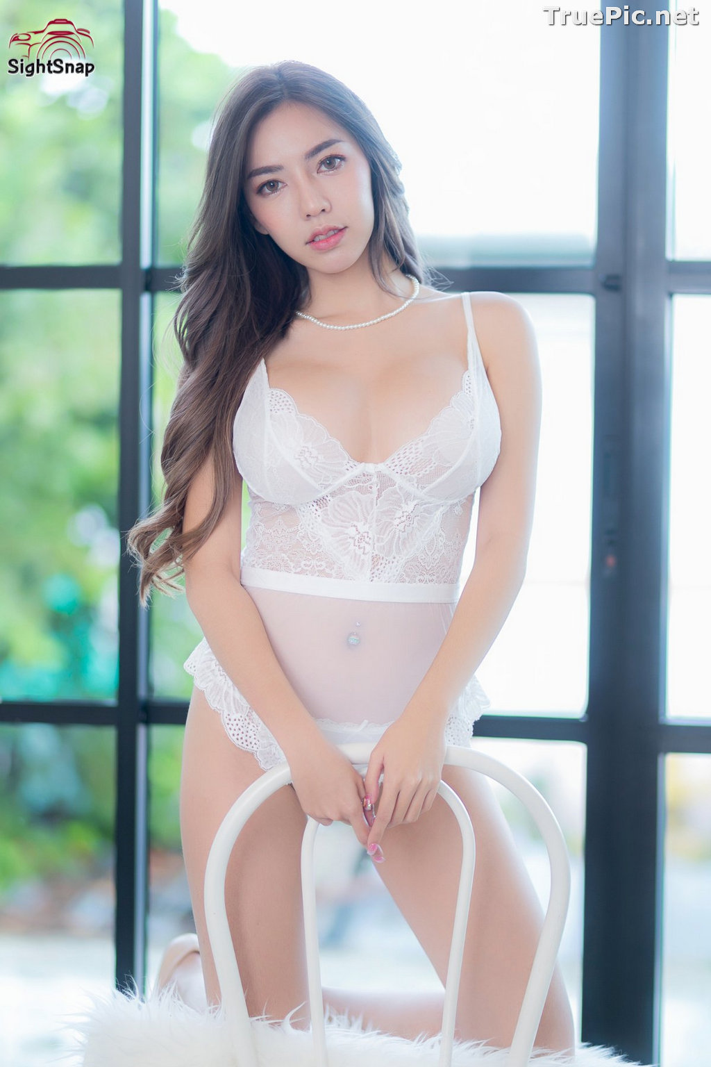 Image Thailand Sexy Model – Champ Phawida - Transparent White Lingerie - TruePic.net - Picture-1
