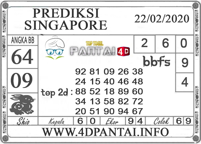 PREDIKSI TOGEL SINGAPORE PANTAI4D 22 FEBRUARI 2020
