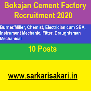 Bokajan Cement Factory Recruitment 2020- Electrician/ Fitter/ Chemist/ Mechanic/ Draughtsman/ Burner