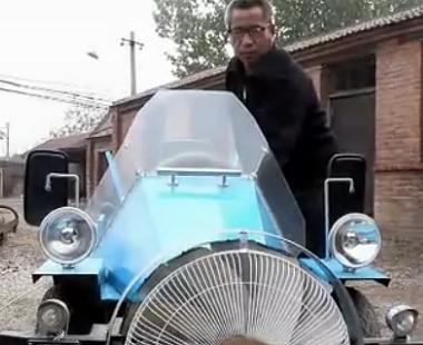 مزارع صيني يصنع سيارة تعمل بطاقة الرياح chinese-farmer-elect