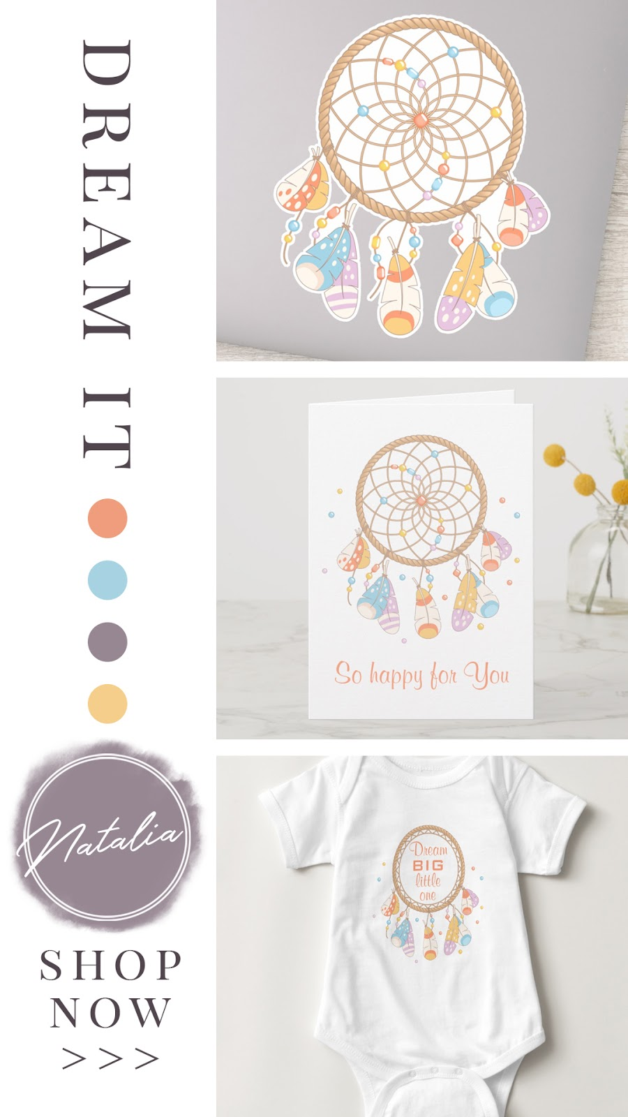 Boho chic dreamcatcher baby shower and birthday collection. Featuring personalized cards, vinyl stickers, gifts, and custom baby apparel. In a yellow, purple, orange, and blue color palette.
