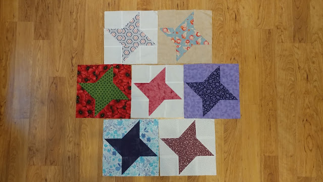 Friendship star quilt blocks from a block exchange with quilty friends