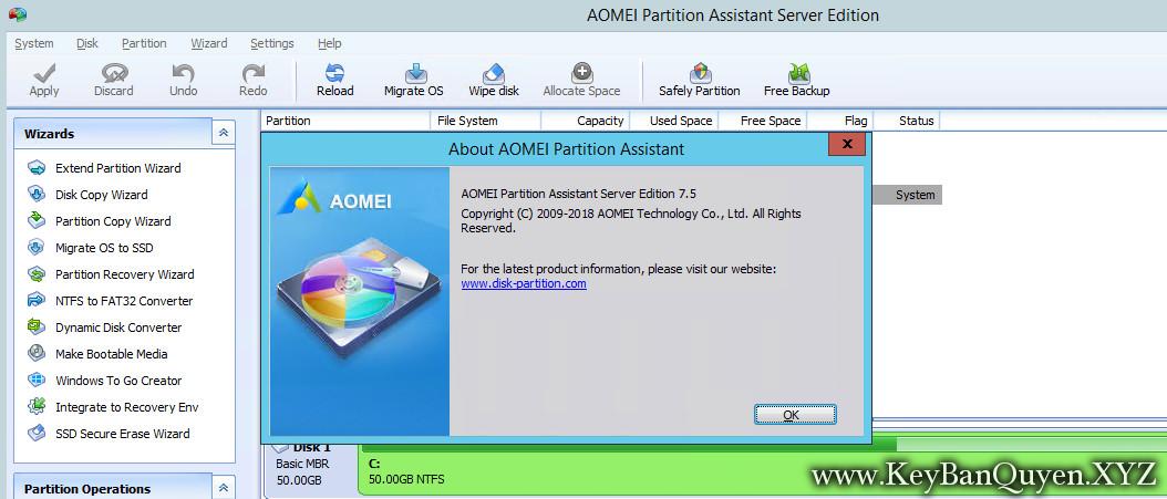 AOMEI Partition Assistant Professional - Technician - Unlimited - Server 7.5.1 Full Key Download,Phân vùng ổ cứng mạy trạm và chủ