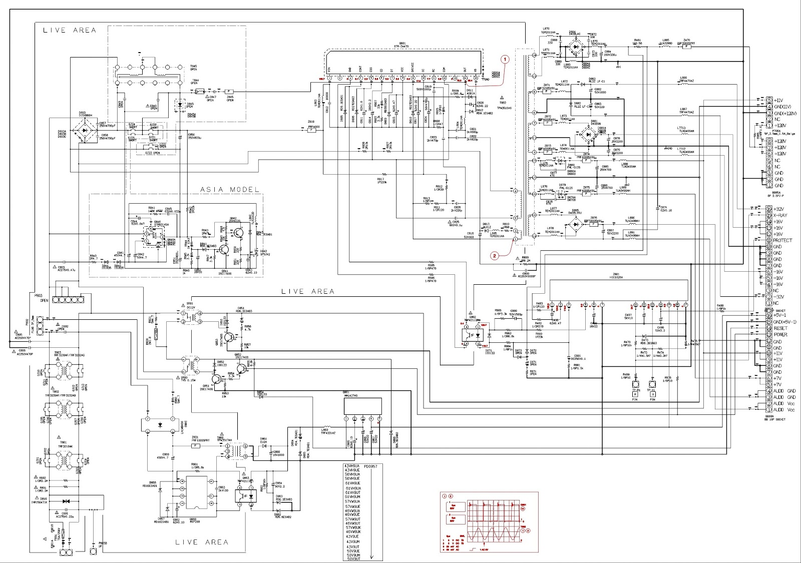 TOSHIBA 50 inch PROJECTION TV  SMPS SCHEMATIC | Electro help