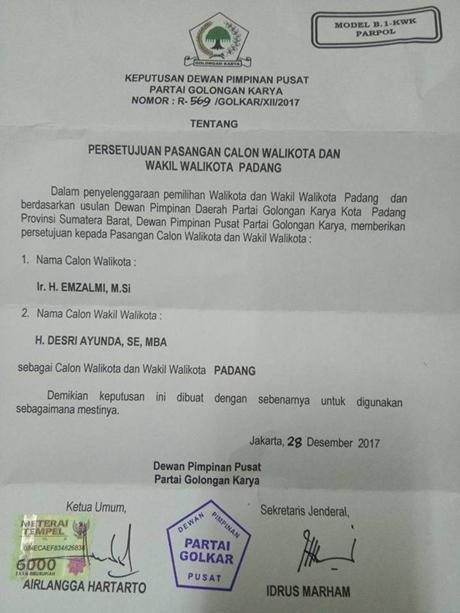 Airlangga Hartarto Setujui Usulan DPD Partai Golkar Padang Usung Emzalmi-Desri Maju
