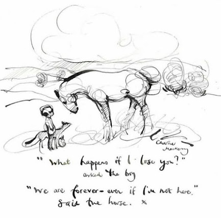 An image from Charlie Mackesy, simple line drawing - we are forever, even if I'm not here