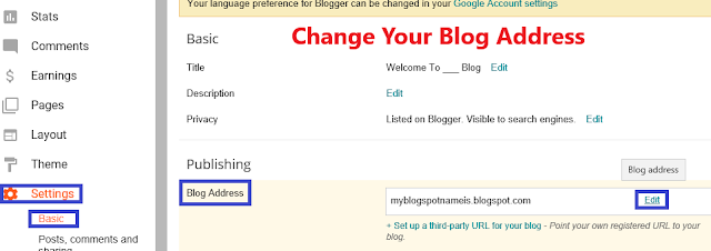 change blogspot name