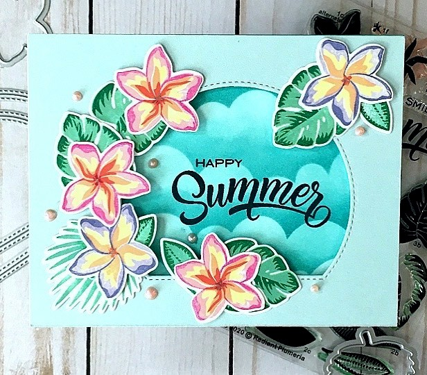 Sunny Studio Stamps: Radiant Plumeria Stitched Semi-Circle Dies Customer Card by Jackie Pasko