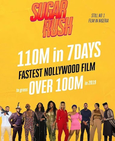 Suger Rush Becomes Fastest Nollywood Film To Gross Over N110 Million in Just 7 Days After It's Release.
