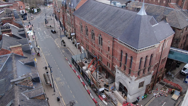 Exterior of redevelopment work on New Briggate below Howard Assembly Room