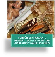 TURRÓN DE CHOCOLATE NEGRO Y DULCE DE LECHE CON AVELLANAS Y GALLETAS LOTUS