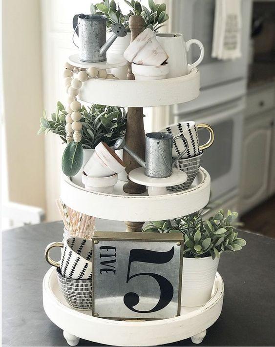 Three-tier white tray with gardening theme