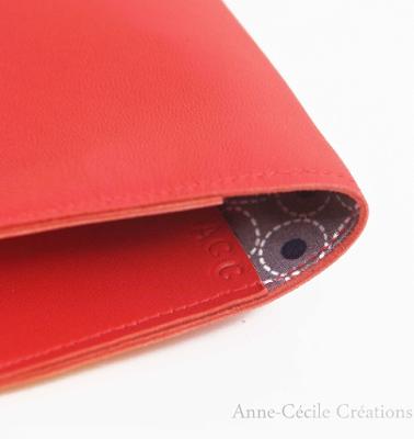 portefeuille recyclé cuir rouge