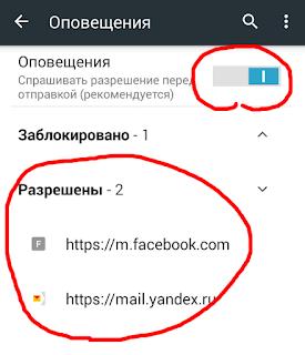 Оповещения в мобильном браузере  Chrome