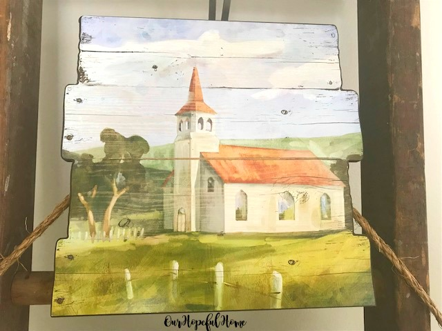 pallet wood painting of old country church