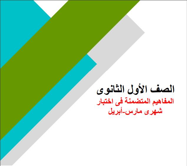 ورق وزارة التربية والتعليم للمفاهيم المتضمنه فى اختبار شهرى مارس وابريل 1ث & 2ث الترم الثانى 2021