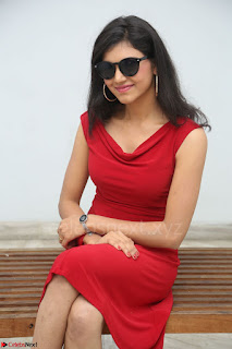 Mounika Telugu Actress in Red Sleeveless Dress Black Boots Spicy Pics 038.JPG