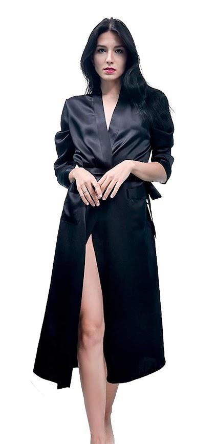 Long Black Silk Robes